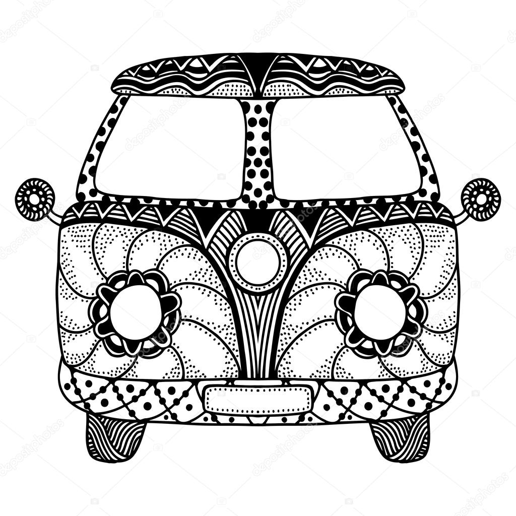 1024x1024 Vintage Car A Mini Van Stock Vector Frescomovie