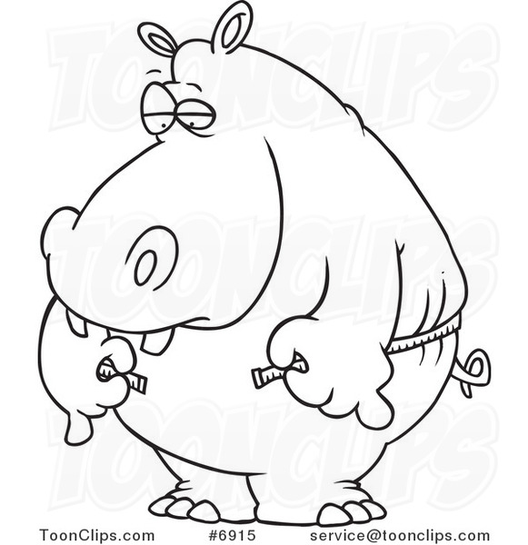 581x600 Cartoon Black And White Line Drawing Of A Big Hippo Measuring His
