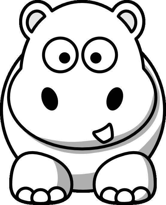 555x685 Cartoon Hippo Black White Line Clipart Panda