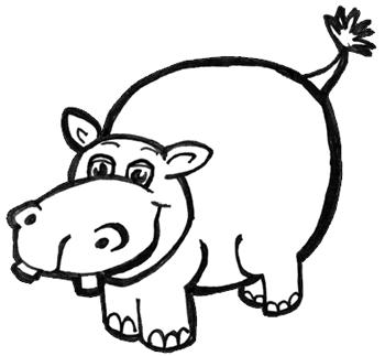 350x323 How To Draw Cartoon Hippos (Hippopotamus) With Easy Step By Step
