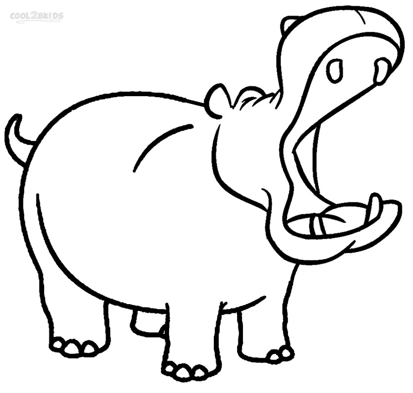 850x809 Hippo Coloring Pages For Kids Chalk It Up Seasonally