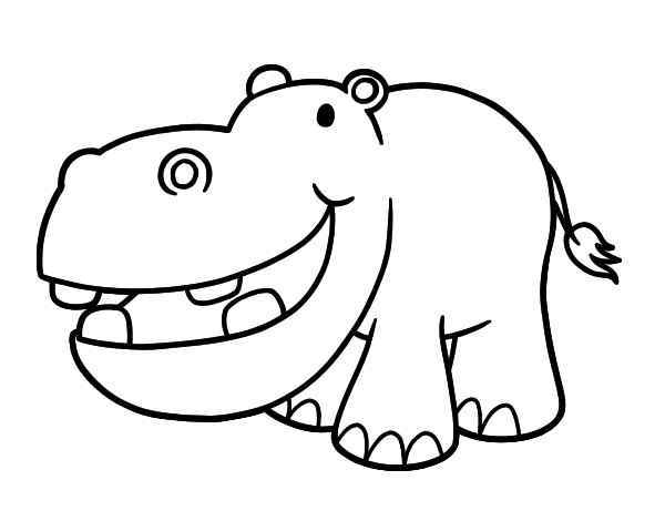 600x470 Hippopotamus Coloring Page For Kids