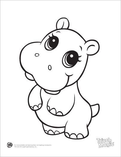 405x524 Learning Friends Hippo Baby Animal Coloring Printable