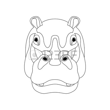 450x450 Hippo Face Vector Illustration Front Side Line Drawing Royalty