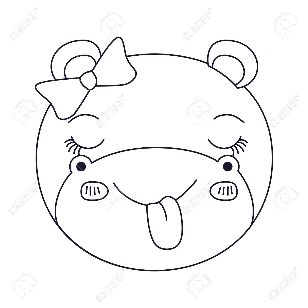 1300x1300 Sketch Silhouette Caricature Face Of Female Hippo Animal Sticking