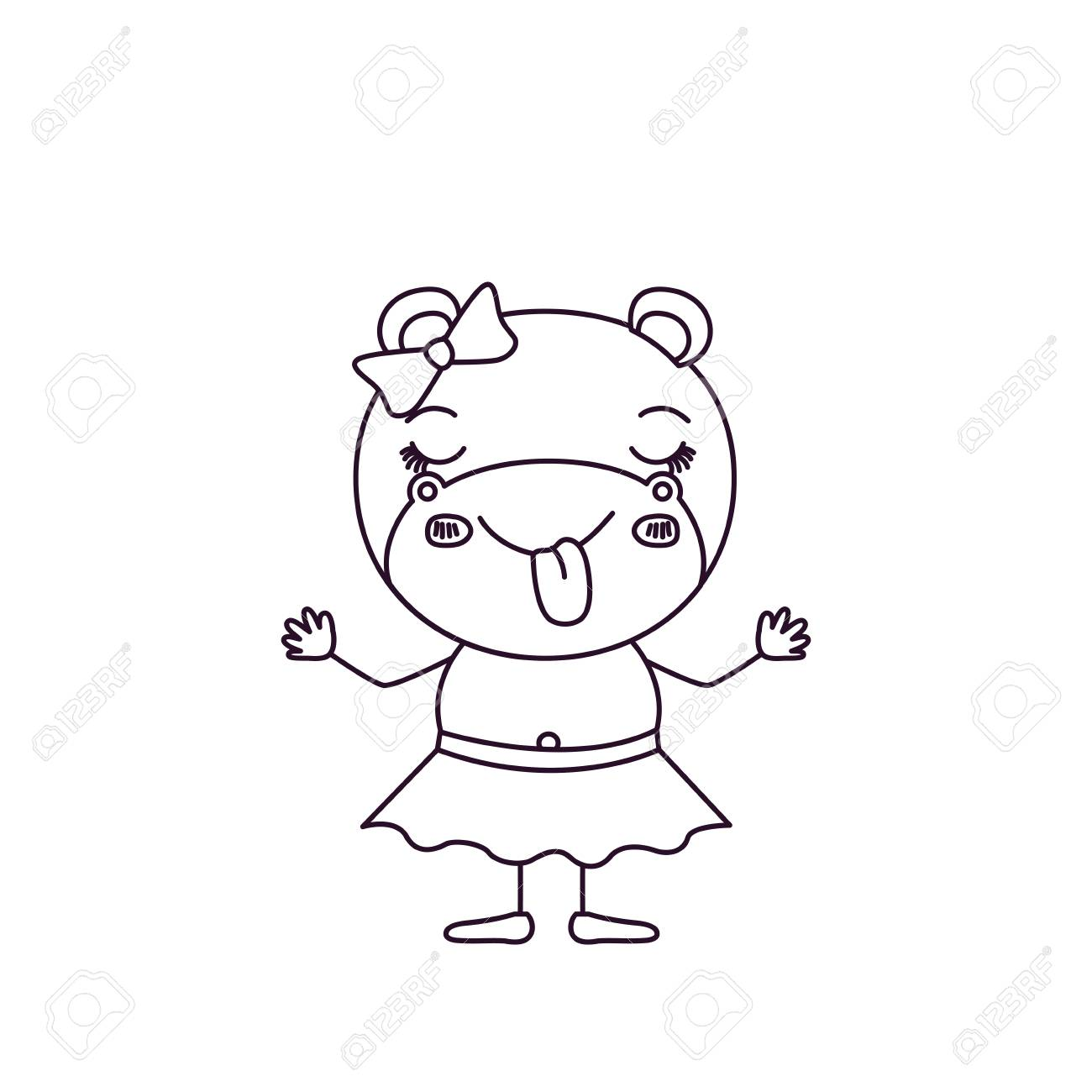 1300x1300 Sketch Silhouette Caricature Of Female Hippo In Skirt With Bow