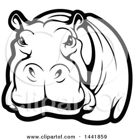 450x470 Clipart Of A Black And White Hippo