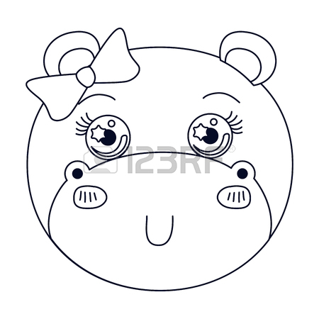 450x450 Colorful Caricature Facef Emale Hippo Animal Sticking Out Tongue