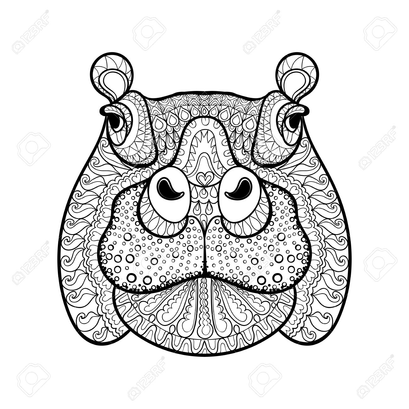 1300x1300 Hand Drawn Tribal Hippopotamus Head, Animal Totem For Adult