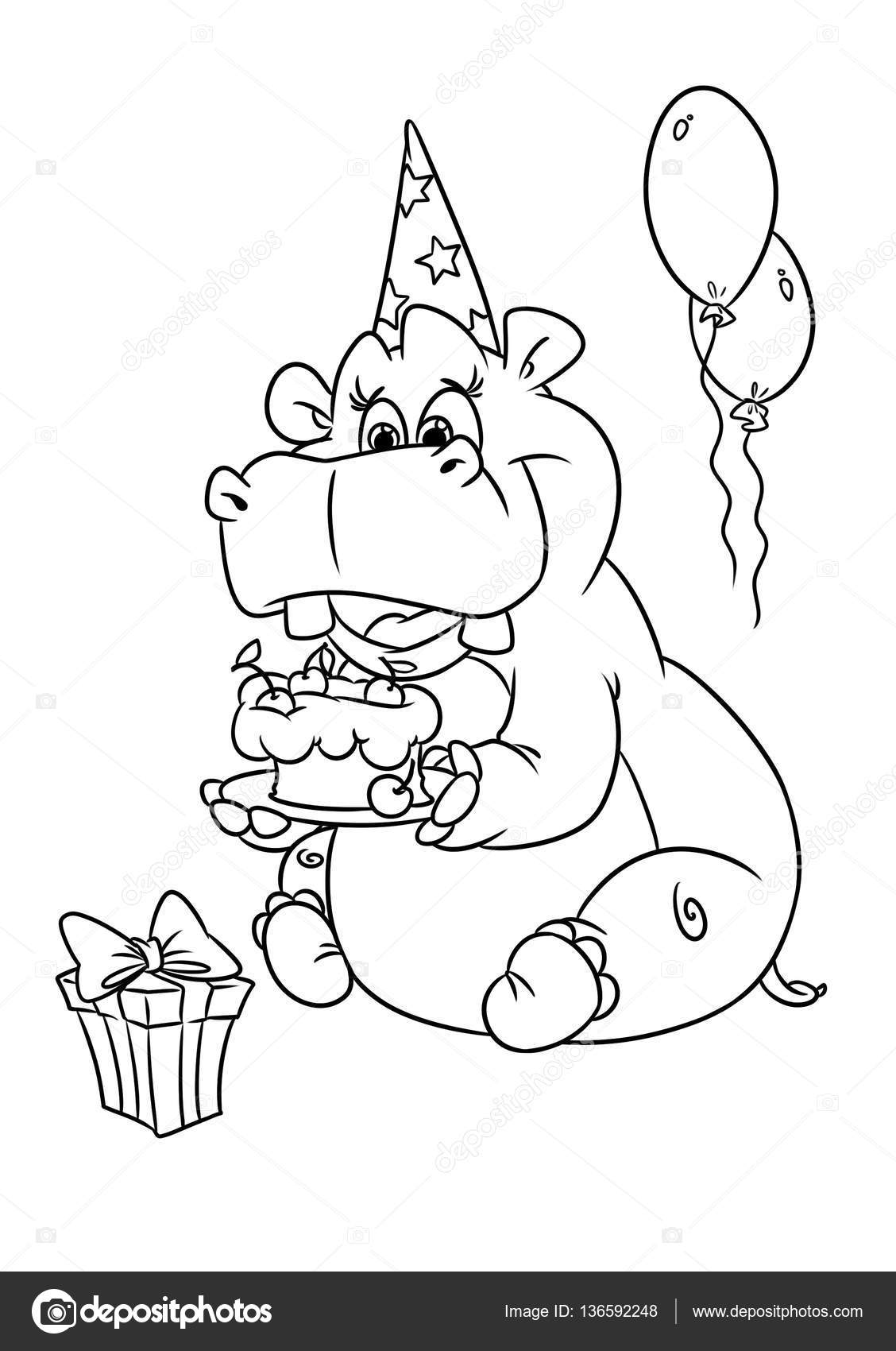 1128x1700 Hippo Holiday Birthday Coloring Pages Stock Photo Efengai