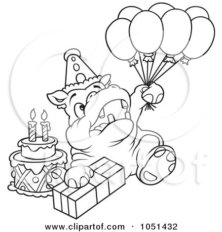 450x470 Clipart Of A Cartoon Hippo Lifting A Leg