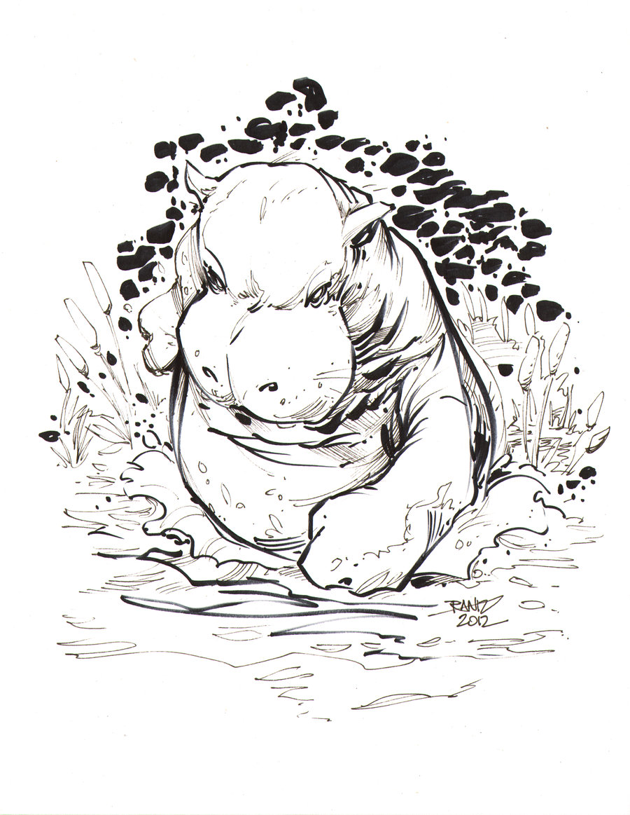 900x1163 Drawn Hippo Angry Hippo