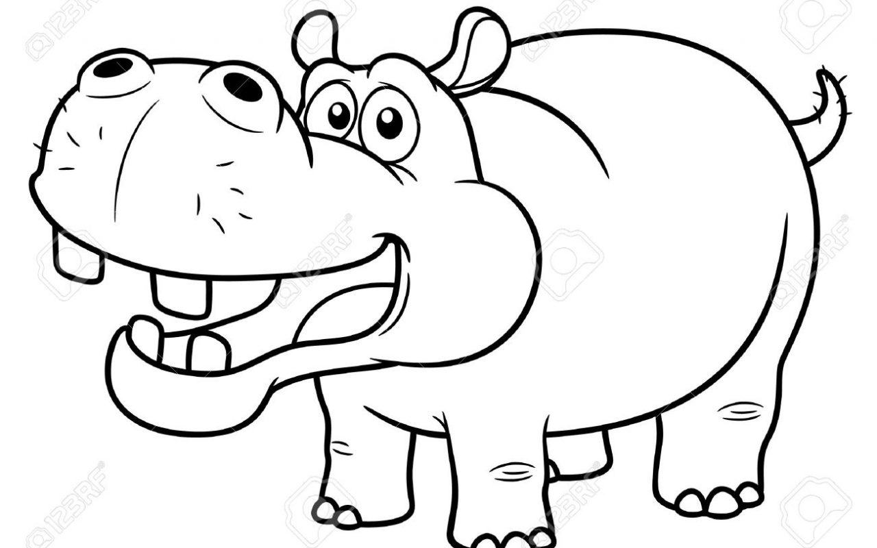1280x800 Hippopotamus Coloring Pages Look Real Hippo Free Printable Animals