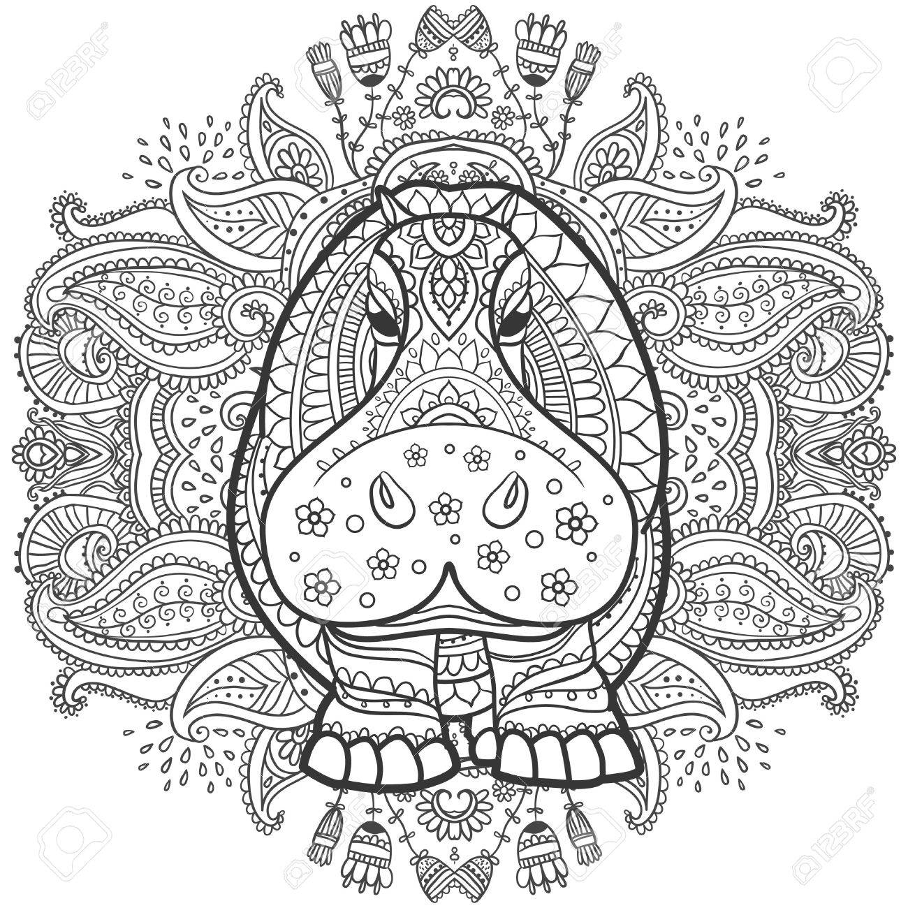 1300x1300 Ornament Hippo Vector. Beautiful Illustration Hippopotamus
