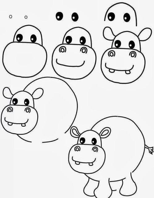 Hippopotamus Drawing Step By Step