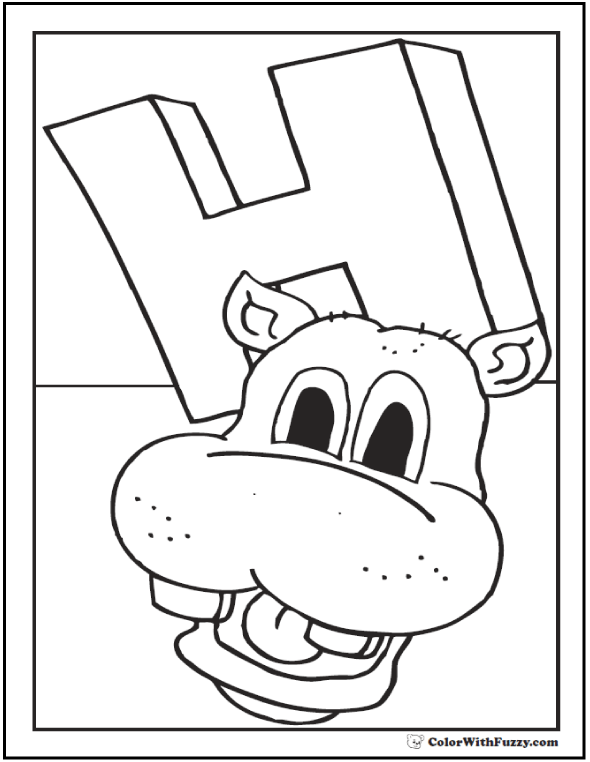 590x762 Hippo Coloring Pages H Is For Happy Hippo