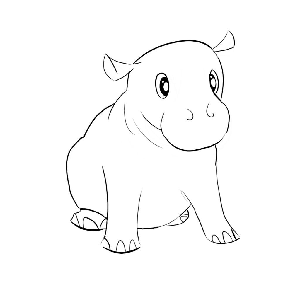 1024x1024 How To Draw A Hippo Hippos On Hippopotamus Safari