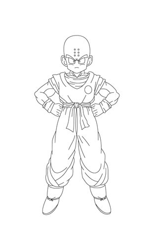 320x480 Kuririn Looks Scary With His Hands On His Hips Coloring Page
