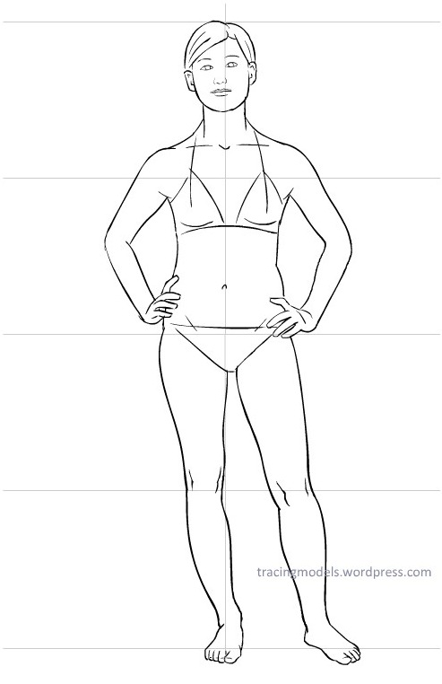 493x762 Model To Trace, Full Size, Front View With Hands On Hips Tracing