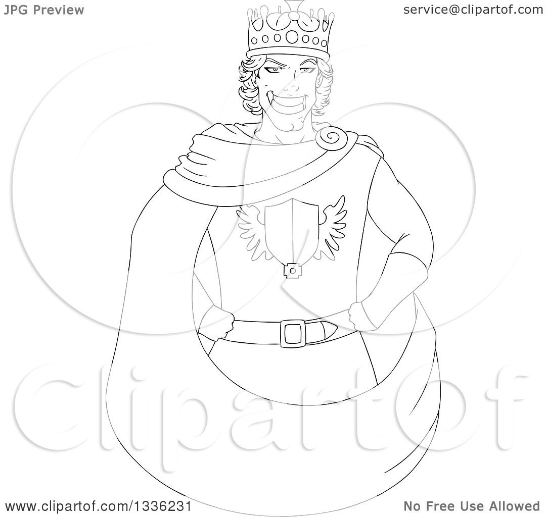 1080x1024 Clipart Of A Cartoon Black And White Grinning Young Male King