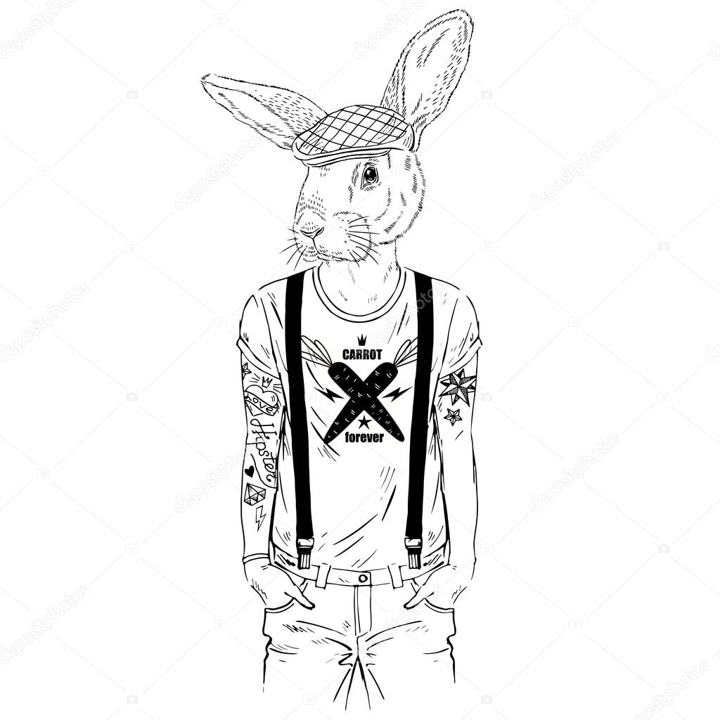 1024x1024 Cool Hare Hipster Boy With Tattoo, Fashion Animal Stock Vector