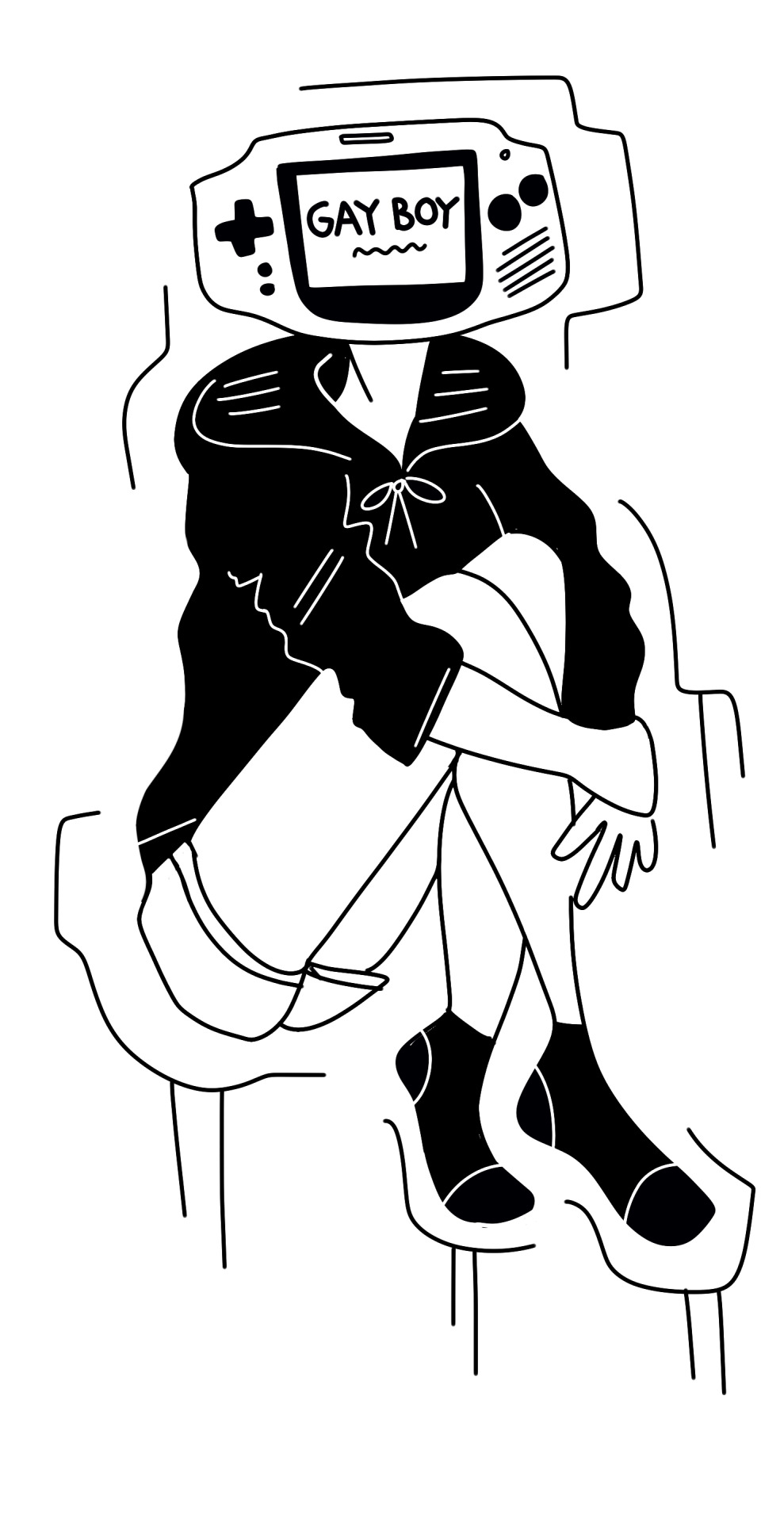 989x1920 Drawing Art Black And White Person Gay Floating Line Reblog Hoodie