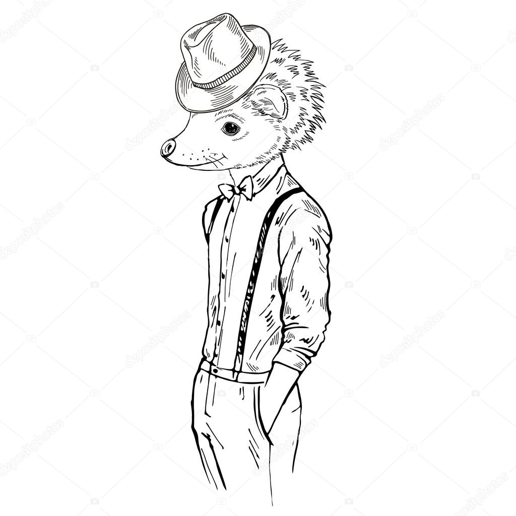 1024x1024 Hedgehog Boy Hipster Stock Vector Olga.angelloz