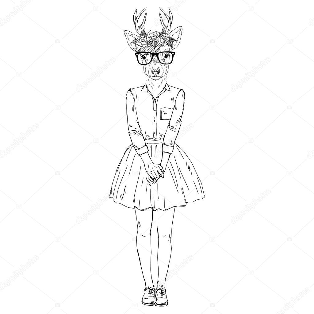 1024x1024 Cute Deer Girl Hipster. Stock Vector Olga.angelloz