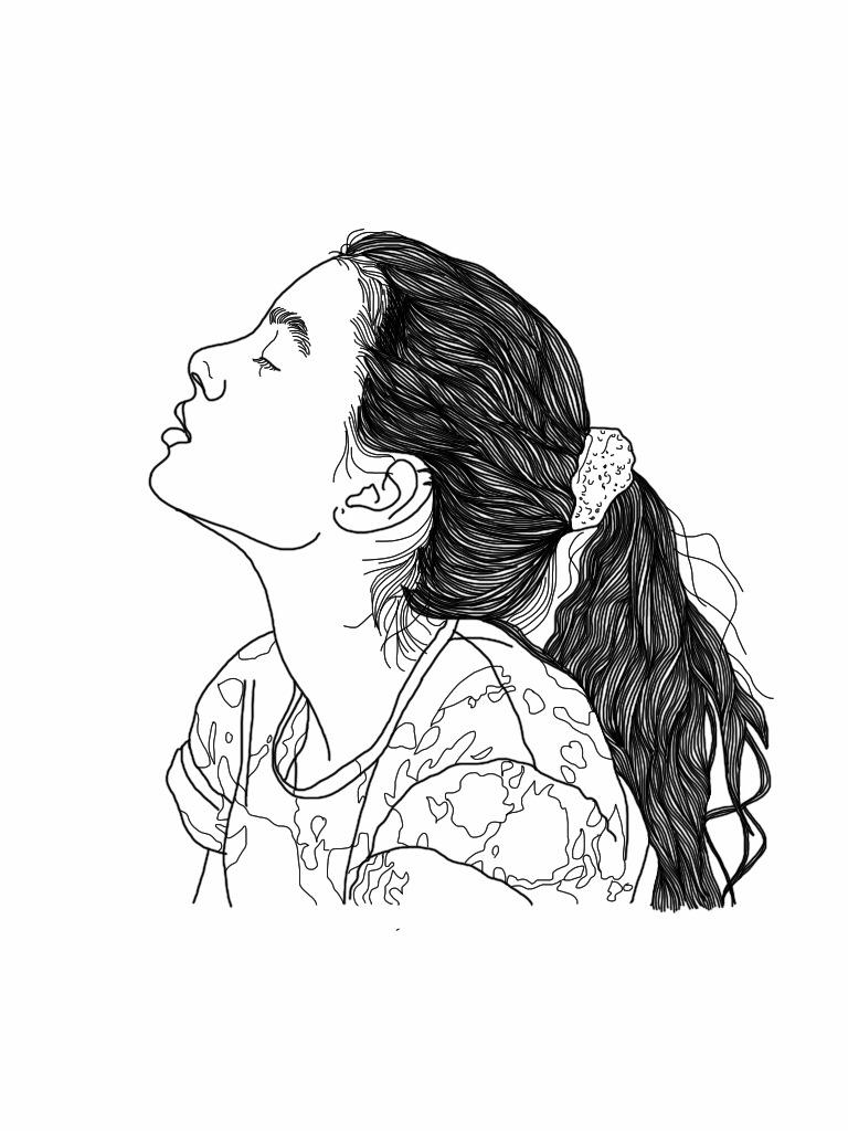 768x1024 Drawn Girl Headphone