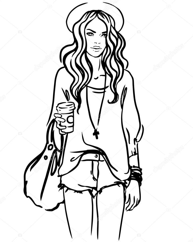 819x1024 Urban Street Style Hipster Girl Stock Vector Vgorbash