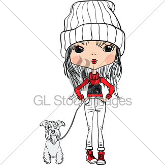 325x325 Vector Cute Hipster Girl With Bike And Dog Gl Stock Images