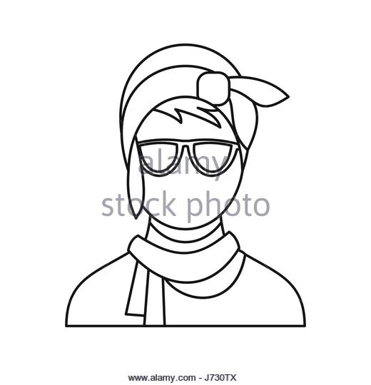 520x540 Cute Hipster Girl Icon Outline Stock Photos Amp Cute Hipster Girl