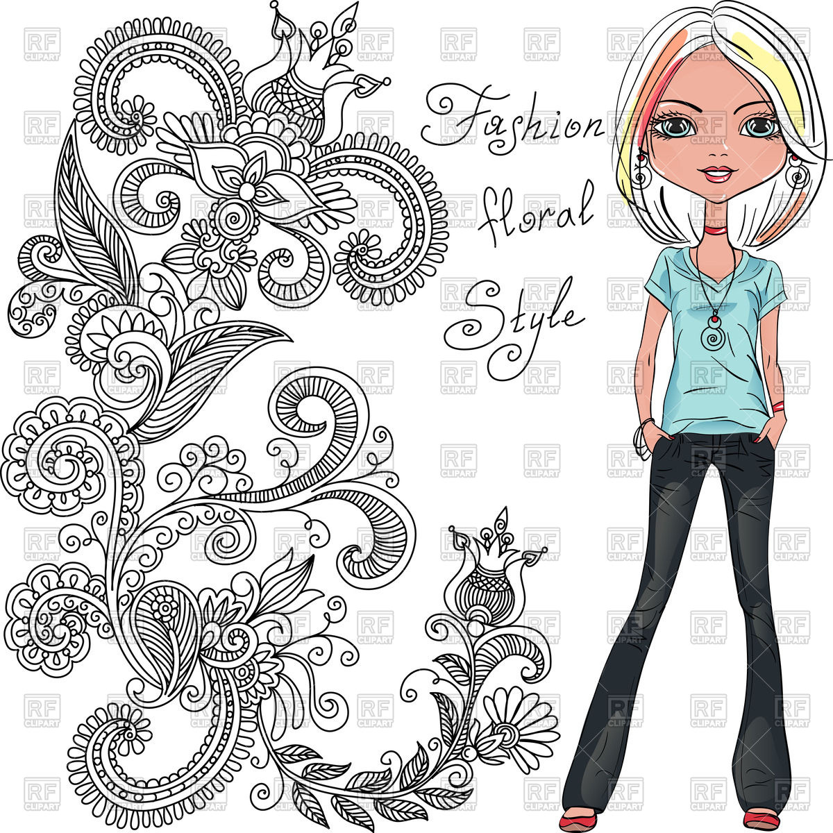 1200x1200 Cute Beautiful Fashionable Hipster Girl Royalty Free Vector Clip