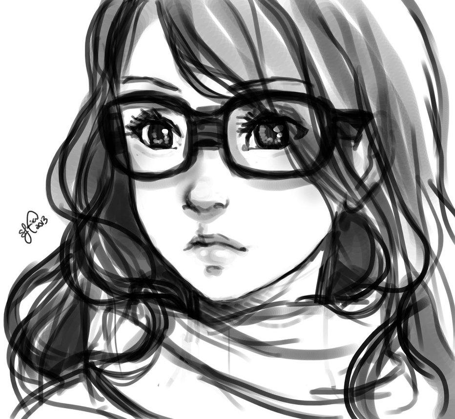 932x857 Girl Glasses Sketch Tumblr