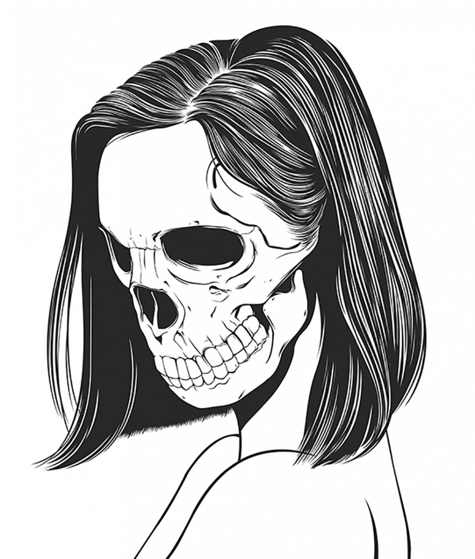 Skeleton Face Line Drawing : Hipster girl drawing tumblr at getdrawings free for