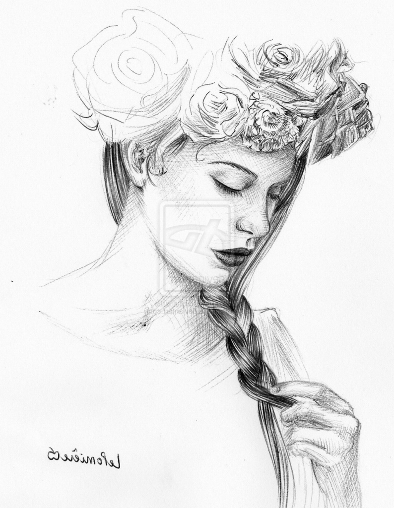 794x1024 Tumblr Girl Drawing Flower Crown Drawing Flower Crowns Flower