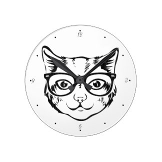 324x324 Hipster Glasses Wall Clocks Zazzle