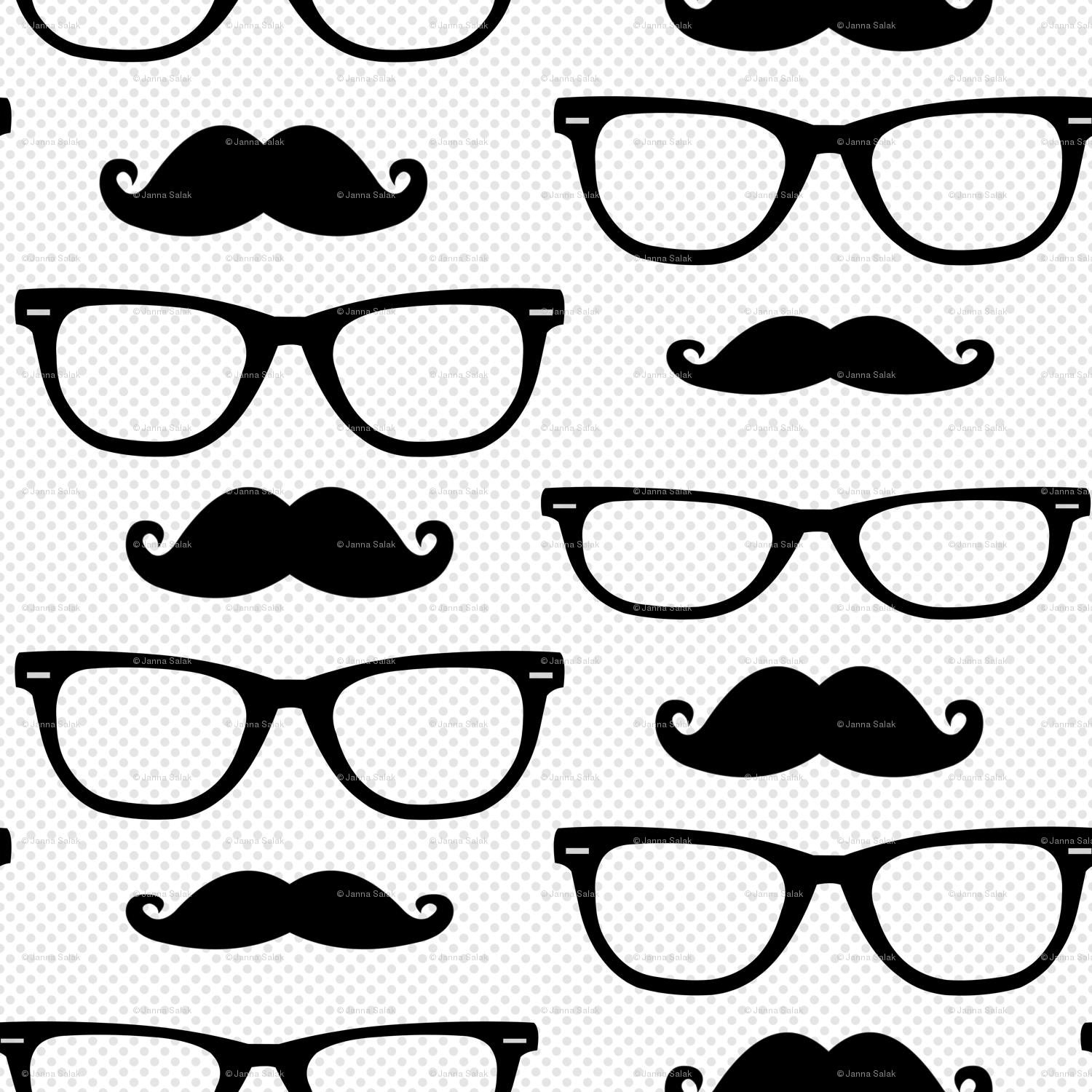1500x1500 Hipster Mustache And Glasses Dot Giftwrap