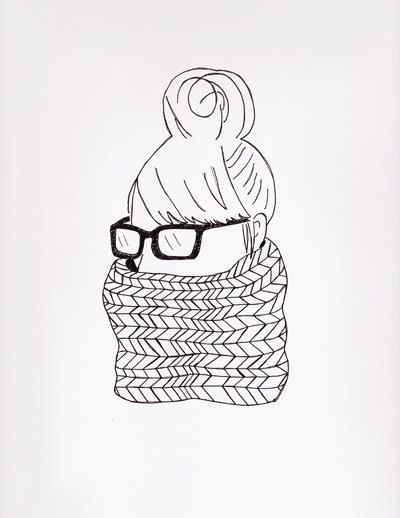 400x518 Hipster Girl With Glasses And Infinity Scarf Drawing Sin