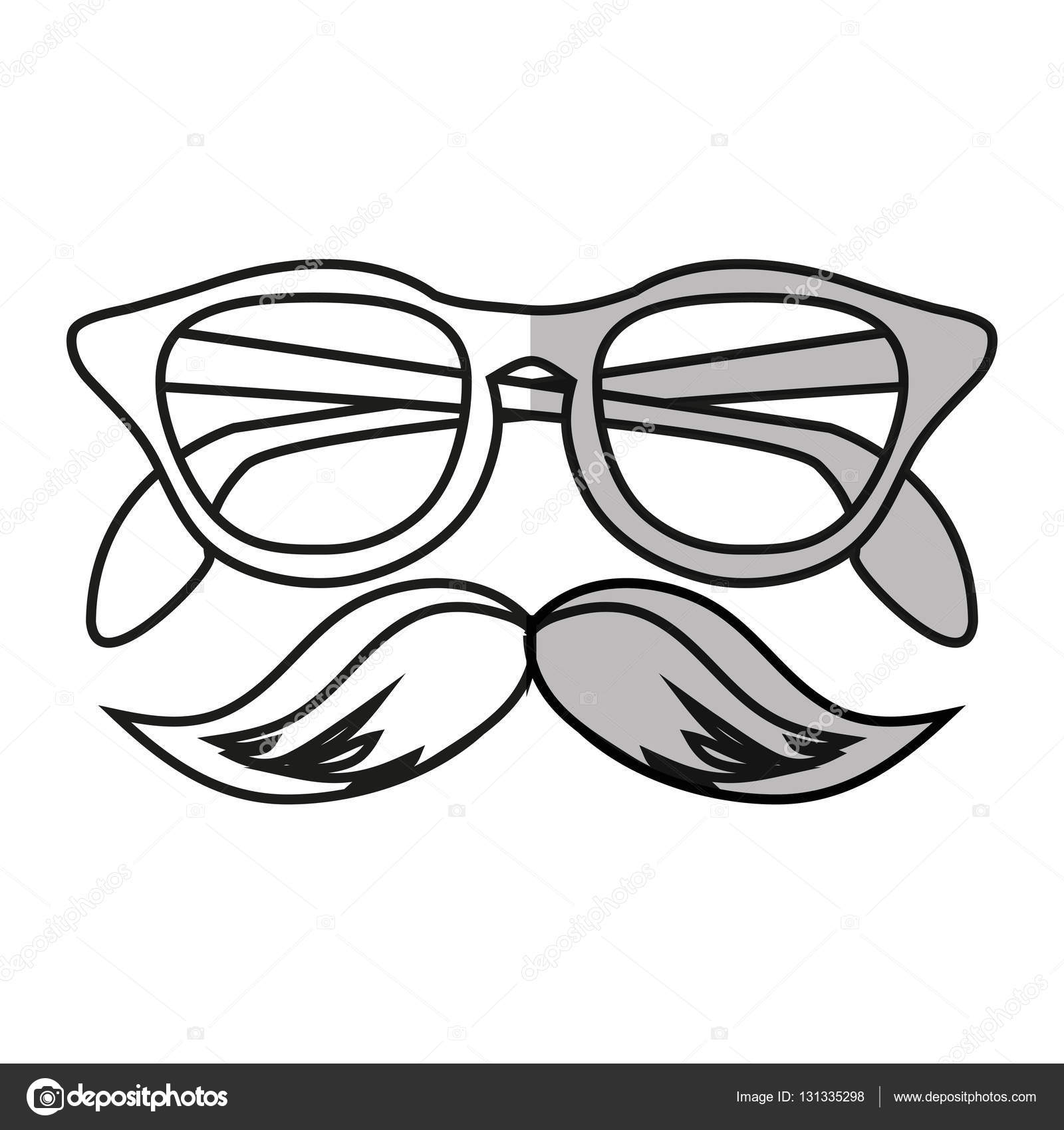 1600x1700 Isolated Hipster Glasses And Mustache Design Stock Vector