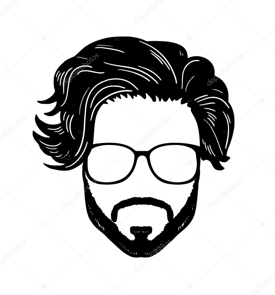 954x1023 Barbershop Hipster Beard Mustache Glasses Hairstyle Vector Image