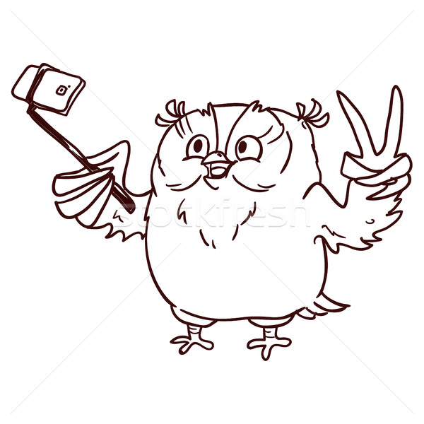 600x600 Owl Hipster With Glasses Makes Selfie On Phone. Line Draw Vector