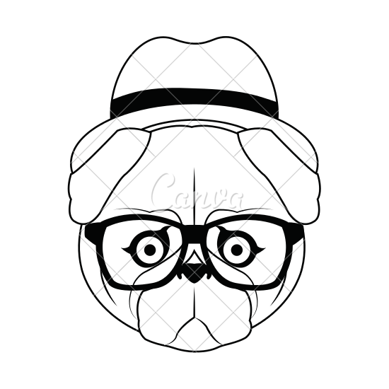 550x550 Pug With Hipster Style Design