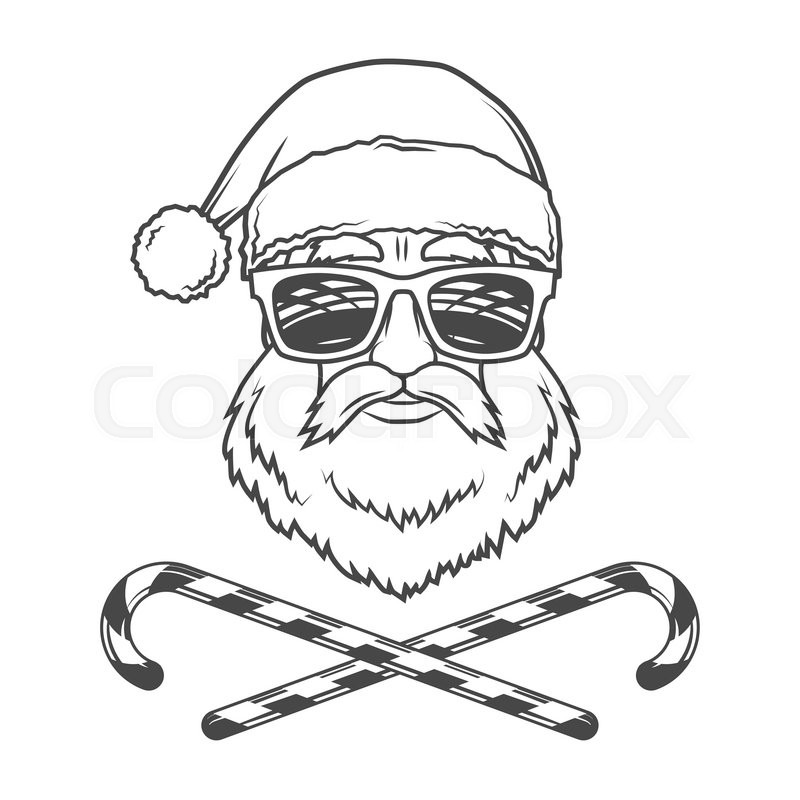 800x800 Santa Claus Biker With Candy Cones And Hipster Glasses Print