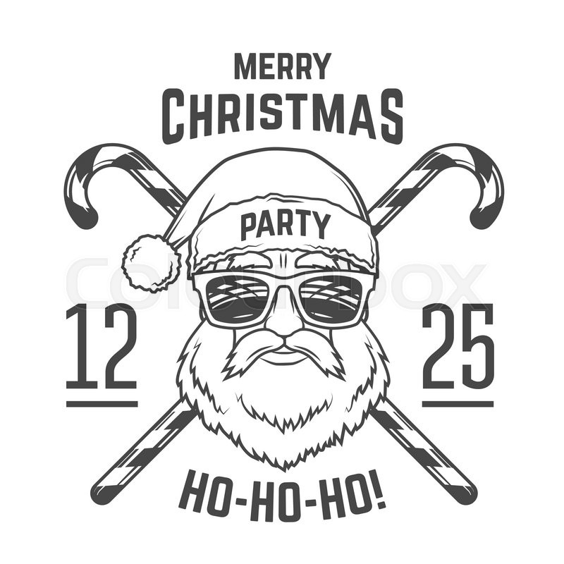 800x800 Santa Claus With Hipster Glasses And Candy Cones Print Design