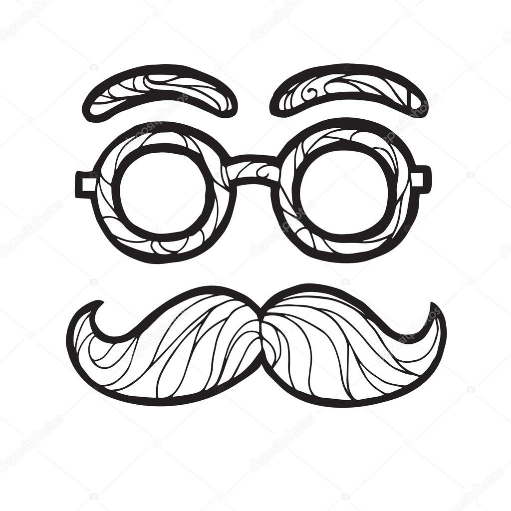 1024x1024 Vector Illustration Of Sketch Male Mustache Fashionable Hipster
