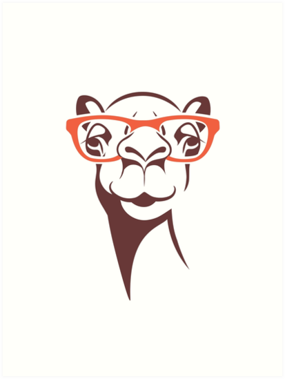 413x549 Hipster Camel In Glasses Art Prints By Dkmurphy Redbubble