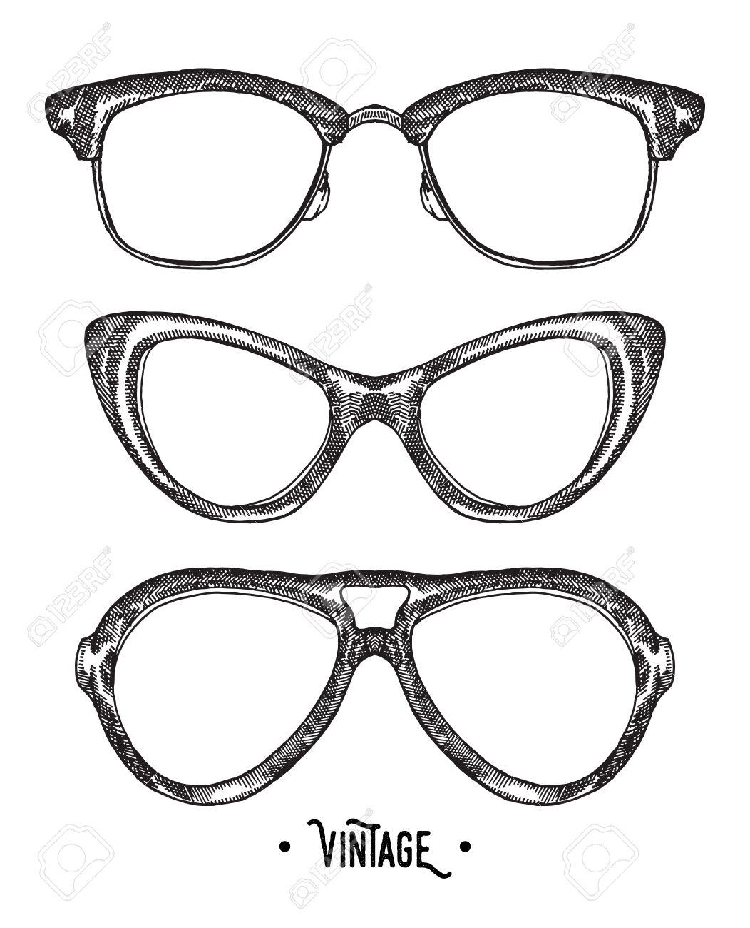 1052x1300 Hand Drawn Hipster Glasses. Vintage Vector Illustration. Sketch