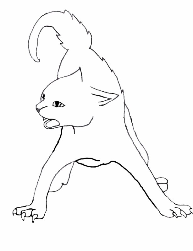 614x800 Cat Hissing Line Art By Roseadarkhand
