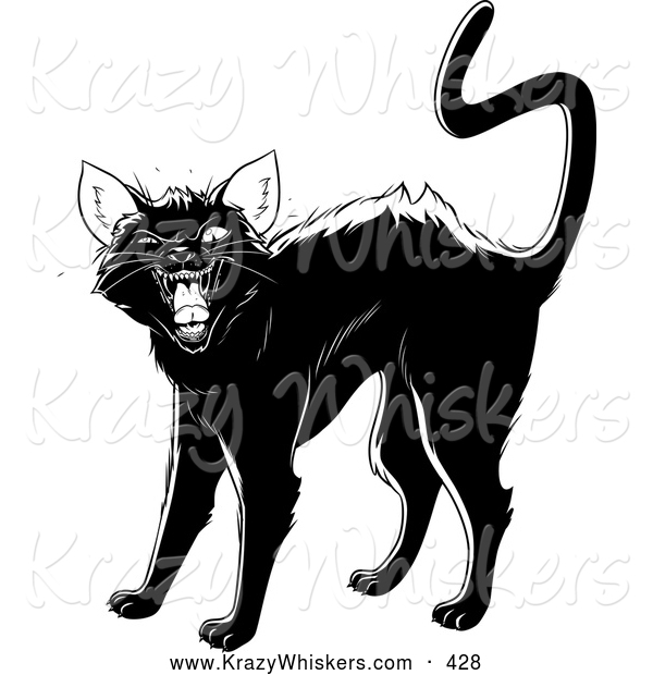 600x620 Critter Clipart Of An Evil Black Cat Arching Its Back, Twitching